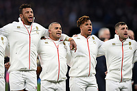 Courtney Lawes, Jonathan Joseph, Anthony Watson and Jonny May of England sing the national anthem. Natwest 6 Nations match between England and Wales on February 10, 2018 at Twickenham Stadium in London, England. Photo by: Patrick Khachfe / Onside Images