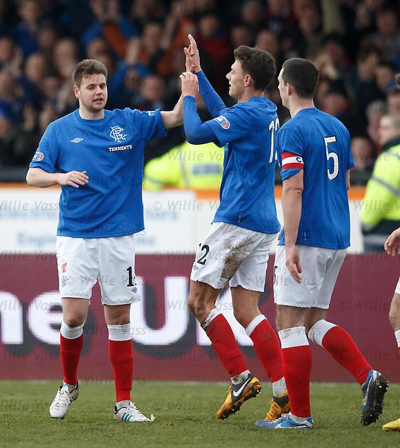 Sebastien Faure celebrates his goal with Kal Naismith