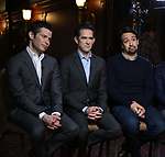 Thomas Kail, Andy Blankenbuehler and Lin-Manuel Miranda  from the 'Hamilton' creative team during a CBS Morning News interview taping with John Dickerson at The Library of Congress on December 2, 2018 in Washington, D.C.