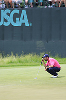 Thomas Aiken (RSA) lines up his putt on the 10th green during Saturday's Round 3 of the 117th U.S. Open Championship 2017 held at Erin Hills, Erin, Wisconsin, USA. 17th June 2017.<br /> Picture: Eoin Clarke | Golffile<br /> <br /> <br /> All photos usage must carry mandatory copyright credit (&copy; Golffile | Eoin Clarke)