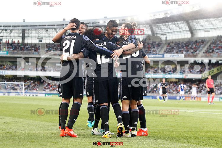 Real Madrid's players celebrate goal during La Liga match. August 21,2016. (ALTERPHOTOS/Acero) /NORTEPHOTO