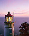 Lane County, OR      <br /> Heceta Head lighthouse at dusk located on the central Oregon coast