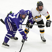 Dan McGinnis (Curry - 21), Dan Szerlip (WIT - 10) - The Wentworth Institute of Technology Leopards defeated the visiting Curry College Colonels 1-0 on Saturday, November 23, 2013, at Walter Brown Arena in Boston, Massachusetts.