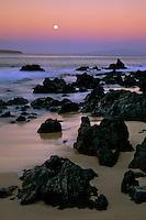 Moonset over Molokini and Lanai<br />   from Oneloa Beach<br /> Ahihi Bay<br /> Island of Maui, Hawaii