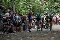 Jonas Rickaert (BEL/Sport Vlaanderen Baloise) leading the early break away group over the cobbles of the infamous Kapelmuur. <br /> <br /> Binckbank Tour 2018 (UCI World Tour)<br /> Stage 7: Lac de l'eau d'heure (BE) - Geraardsbergen (BE) 212.7km