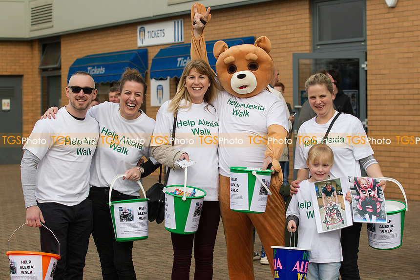 Charity collection 'help Alexis Walk' pre kick off during Colchester United vs Portsmouth, Sky Bet EFL League 2 Football at the Weston Homes Community Stadium on 11th March 2017