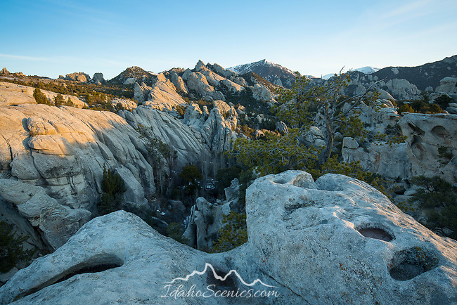 Idaho, South central, Almo. City of Rocks National Reserve. First light of a spring day in City of Rocks.