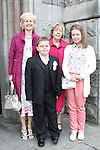 Michael with his family at the St Mary's Congress Avenue Communion in St.Mary's Church...(Photo credit should read Jenny Matthews www.newsfile.ie)....This Picture has been sent you under the conditions enclosed by:.Newsfile Ltd..The Studio,.Millmount Abbey,.Drogheda,.Co Meath..Ireland..Tel: +353(0)41-9871240.Fax: +353(0)41-9871260.GSM: +353(0)86-2500958.email: pictures@newsfile.ie.www.newsfile.ie.