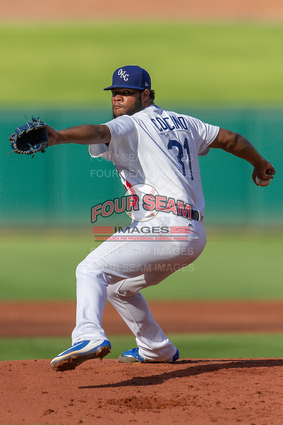Daniel Corcino (31) of the Oklahoma City Dodgers pitches during a game against the Las Vegas 51s at Chickasaw Bricktown Ballpark on June 17, 2018 in Oklahoma City, Oklahoma. Oklahoma City defeated Las Vegas 5-3  (William Purnell/Four Seam Images)
