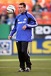 1 May 2004: Vuk Rasovic, a defender from Serbia who was signed earlier in the week by the Wizards, warms up with his new teammates before the game. The Kansas City Wizards defeated the Colorado Rapids at Arrowhead Stadium in Kansas City, MO in a regular season Major League Soccer game...