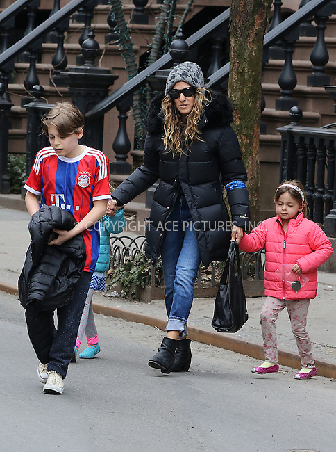 WWW.ACEPIXS.COM<br /> <br /> March 25 2015, New York City<br /> <br /> Actress Sarah Jessica Parker goes out with her children James Broderick, Marion Broderick and Tabitha Broderick on her 50th birthday on March 25 2015 in New York City<br /> <br /> By Line: Zelig Shaul/ACE Pictures<br /> <br /> <br /> ACE Pictures, Inc.<br /> tel: 646 769 0430<br /> Email: info@acepixs.com<br /> www.acepixs.com