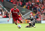 Liverpool's Joe Gomez tussles with Crystal Palace's Jason Puncheon during the premier league match at the Anfield Stadium, Liverpool. Picture date 19th August 2017. Picture credit should read: David Klein/Sportimage