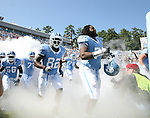 02 September 2006: UNC's Kyndraus Guy (74) and Dirk Engram (82). The University of North Carolina Tarheels lost 21-16 to the Rutgers Scarlett Knights at Kenan Stadium in Chapel Hill, North Carolina in an NCAA Division I College Football game.