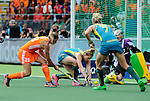 The Hague, Netherlands, June 14: Kim Lammers #23 of The Netherlands tries to score during the field hockey gold medal match (Women) between Australia and The Netherlands on June 14, 2014 during the World Cup 2014 at Kyocera Stadium in The Hague, Netherlands. Final score 2-0 (2-0)  (Photo by Dirk Markgraf / www.265-images.com) *** Local caption *** (L-R) Kim Lammers #23 of The Netherlands, Kirstin Dwyer #6 of Australia, Jodie Kenny #7 of Australia