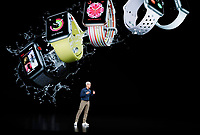 Apple CEO Tim Cook speaks about the Apple Watch at the Steve Jobs Theater during an event to announce new Apple products Wednesday, Sept. 12, 2018, in Cupertino, Calif. (AP Photo/Marcio Jose Sanchez)