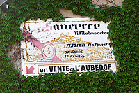 Sign, Roland Tissier. Chavignol, Sancerre, Loire, France