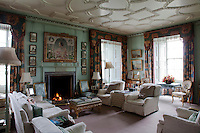 A portrait of Countess Dalkeith has pride of place over the morning room fireplace