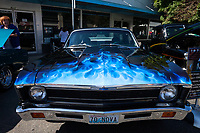 Black 1970 Chevrolet Nova Blue Flames, Return to Renton Auto Show 2017, Washington, USA.
