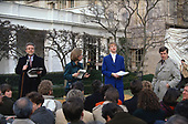 Network correspondents report from the Rose Garden of the White House in Washington, DC prior to United States President Bill Clinton introducing Janet Reno, State's Attorney for Miami-Dade County, Florida, as his choice to be the US Attorney General in the Rose Garden of the White House in Washington, DC on February 11, 1993. From left to right: Wold Blitzer, CNN; Andrea Mitchell, NBC News; Susan Spencer, CBS News; and Britt Hume, ABC News.<br /> Credit: Howard L.  Sachs / CNP