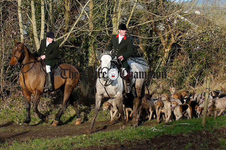 The hunt following the scent of the drag during  the East Clare Harriers Hunt at Clonlara. Photograph by John Kelly.