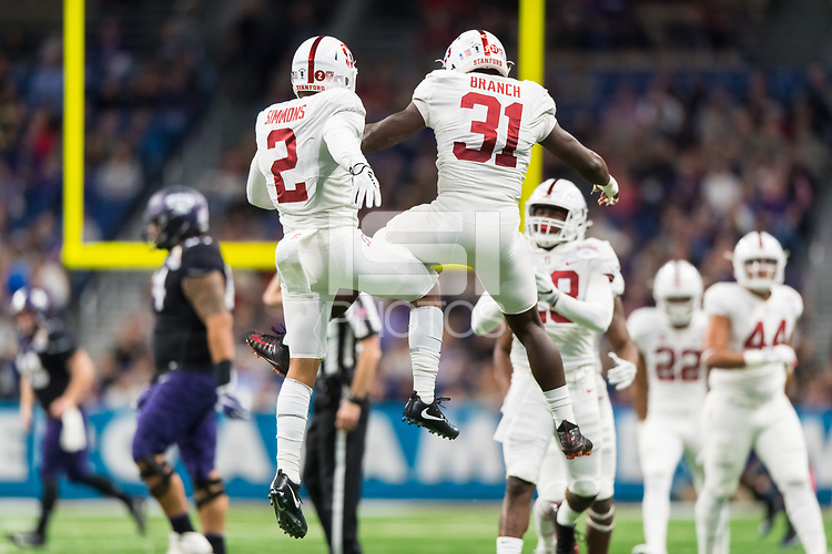 San Antonio, TX - December 28, 2017: Stanford football falls to the TCU Horned Frogs 39-37 during the 2017 Alamo Bowl at the Alamodome.