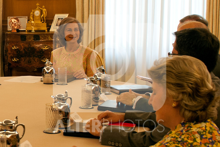 Queen Sofia of Greece chaired the meeting of the board of the Queen Sofia Foundation held at the Zarzuela Palace..(Alterphotos/Ricky)