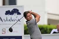 Robert Rock (ENG) tees off the 1st tee during Saturday's rain delayed Round 2 of the Andalucia Valderrama Masters 2018 hosted by the Sergio Foundation, held at Real Golf de Valderrama, Sotogrande, San Roque, Spain. 20th October 2018.<br /> Picture: Eoin Clarke | Golffile<br /> <br /> <br /> All photos usage must carry mandatory copyright credit (&copy; Golffile | Eoin Clarke)