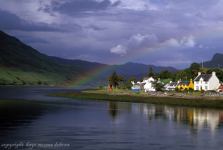 Dornie Scotland under a rainbow, Highlands in Scotland, Dornie of Lochalsh, with rainbow