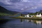 Dornie Scotland under a rainbow, Highlands in Scotland, Dornie of Lochalsh, with rainbow