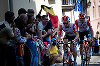 Victor Campenaerts (BEL/Lotto-Soudal) & Adam Hansen (AUS/Lotto-Soudal) up the steep, cobbled & crowded climb in Pinerolo<br /> <br /> Stage 12: Cuneo to Pinerolo (158km)<br /> 102nd Giro d'Italia 2019<br /> <br /> ©kramon