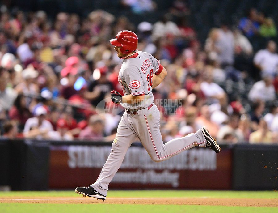 Aug. 29, 2012; Phoenix, AZ, USA: Cincinnati Reds outfielder Chris Heisey against the Arizona Diamondbacks at Chase Field. Mandatory Credit: Mark J. Rebilas-USA TODAY Sports