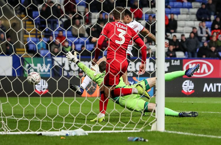 Bolton Wanderers' Josh Magennis scoring his side's second goal <br /> <br /> Photographer Andrew Kearns/CameraSport<br /> <br /> Emirates FA Cup Third Round - Bolton Wanderers v Walsall - Saturday 5th January 2019 - University of Bolton Stadium - Bolton<br />  <br /> World Copyright © 2019 CameraSport. All rights reserved. 43 Linden Ave. Countesthorpe. Leicester. England. LE8 5PG - Tel: +44 (0) 116 277 4147 - admin@camerasport.com - www.camerasport.com
