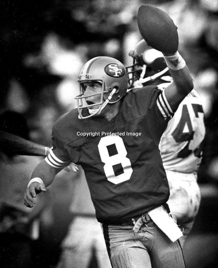 San Francisco 49er quarterback Steve Young after scoring a Touchdown on a 49 yard run against the Minnesota Vikings. (1988 photo by Ron Riesterer)