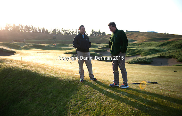 A view of the deep pot bunker and Superintendent Josh Lewis and Director of Egronomy Eric Johnson. Chambers Bay Golf Course in University Place, Washington will host the 2015 U.S. Open in June 2015. Photo by Daniel Berman for Golf Course Management Magazine.