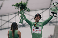 A very happy Michael Matthews (AUS/Sunweb) in green on the impressive Marseille V&eacute;lodrome podium<br /> <br /> 104th Tour de France 2017<br /> Stage 20 (ITT) - Marseille &rsaquo; Marseille (23km)