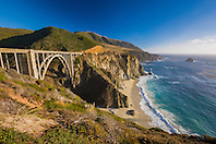 Bixby Creek Bridge, beach, Big Sur coast, California, USA, Pacific Ocean
