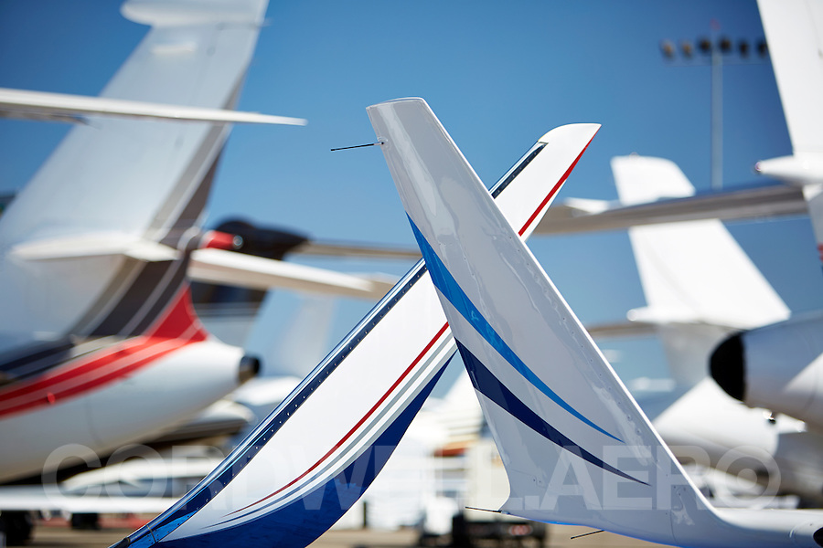 Various business aircraft tailplanes