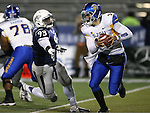 Nevada's Dupree Roberts-Jordan flushes San Jose State quarterback Blake Jurich in an NCAA college football game in Reno, Nev., on Saturday, Nov. 16, 2013. (AP Photo/Cathleen Allison)