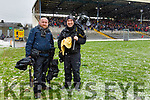 James Crombie and Brendan Moran before the Allianz Football League Division 1 Round 5 match between Kerry and Monaghan at Fitzgerald Stadium in Killarney, on Sunday.
