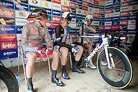 Tour of Belgium 2013.stage 3: iTT..Greg Van Avermaet (BEL) & Sep Vanmarcke (BEL) chatting away pre-race