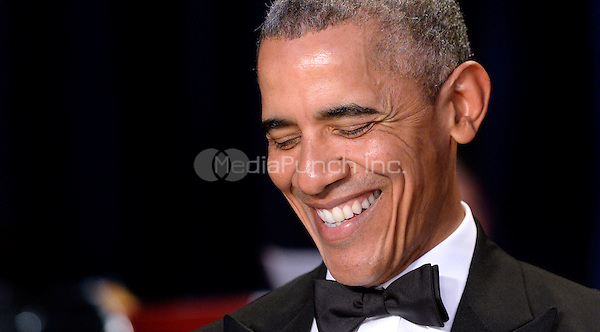 United States President Barack Obama smiles during the White House Correspondents' Association annual dinner on April 30, 2016 at the Washington Hilton hotel in Washington.This is President Obama's eighth and final White House Correspondents' Association dinner.<br /> Credit: Olivier Douliery / Pool via CNP/MediaPunch