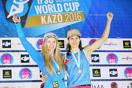 (L to R) <br /> Shauna Coxsey (GBR), <br /> Rustam Gelmanov (RUS), <br /> APRIL 24, 2016 - Sports Climbing : <br /> IFSC Climbing World Cup - Bouldering Kazo 2016 <br /> Men's &amp; Women's Award Ceremony <br /> at Kazo Civic Gymnasium, Saitama, Japan. <br /> (Photo by YUTAKA/AFLO SPORT)
