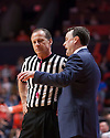 Jan 24, 2018; Champaign, IL, USA; Indiana Hoosiers head coach Archie Miller has a discussion with an official during the second half against the Illinois Fighting Illini at State Farm Center. Mandatory Credit: Mike Granse-USA TODAY Sports