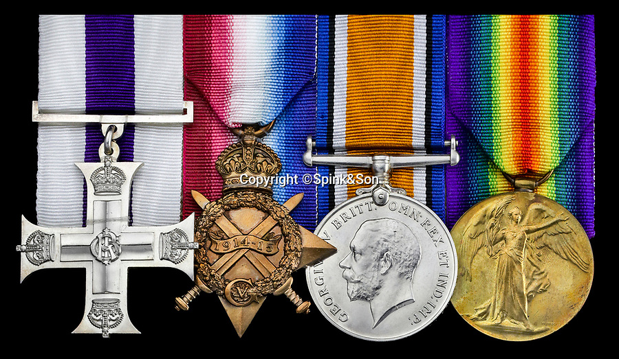 BNPS.co.uk (01202 558833)<br /> Pic :  Spink&Son/BNPS<br /> <br /> Military Cross, 1914-15 Star, British War and Victory Medals.<br /> <br /> The medals of the Red Baron's final victim, shot down the evening before the German Ace finally met his own end...have sold for £18,000 at auction.<br /> <br /> Major Richard 'Dick' Raymond-Barker, who commanded No 3 Squadron, Royal Flying Corps, was the 79th victim of Baron Manfred von Richthofen.<br /> <br /> He was flying in a Sopwith Camel when he was killed in a dogfight with the German ace on April 20, 1918, aged just 23.<br /> <br /> The Red Baron himself was shot down at 11 am the following day over the Somme.
