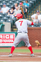 Jeff Kobernus (7) of the Hagerstown Suns at bat against the Greensboro Grasshoppers at NewBridge Bank Park on May 20, 2014 in Greensboro, North Carolina.  The Grasshoppers defeated the Suns 5-4. (Brian Westerholt/Four Seam Images)