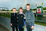 Enjoying the Scoil Naomh Eirc, Kilmoyley, night at the Dogs fundraiser at Kingdom Greyhound Stadium on Saturday were Tomas Godley, Darragh Corridan and Cian McEllegott