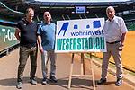 14.06.2019, Wohninvest Weserstadion, Bremen, GER, 1.FBL, Werder Bremen Partnerschaft mit Wohninvest, <br /> <br /> Werder Bremen hat die Namensrecht für 10 Jahre an die Wohninvest in Stuttgart verkauft. Das Stadiuon wird künftig wohninvest Weserstadion heißen<br /> im Bild<br /> Klaus Filbry (Vorsitzender der Geschäftsführung / Kaufmännischer Geschäftsführer SV Werder Bremen)<br /> Harald Panzer ( Chief Exceutive Officer)<br /> Heinz-Günther / Guenther Zobel (BWS Geschaeftsfuehrer)<br /> <br /> <br /> <br /> Foto © nordphoto / Kokenge
