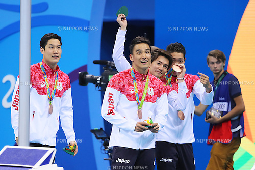 (L-R) Kosuke Hagino, Naito Ehara, Yuki Kobori, Takeshi Matsuda (JPN), <br /> AUGUST 9, 2016 - Swimming : <br /> Men's 4x200m Freestyle Relay Medal Ceremony <br /> at Olympic Aquatics Stadium <br /> during the Rio 2016 Olympic Games in Rio de Janeiro, Brazil. <br /> (Photo by Yohei Osada/AFLO SPORT)