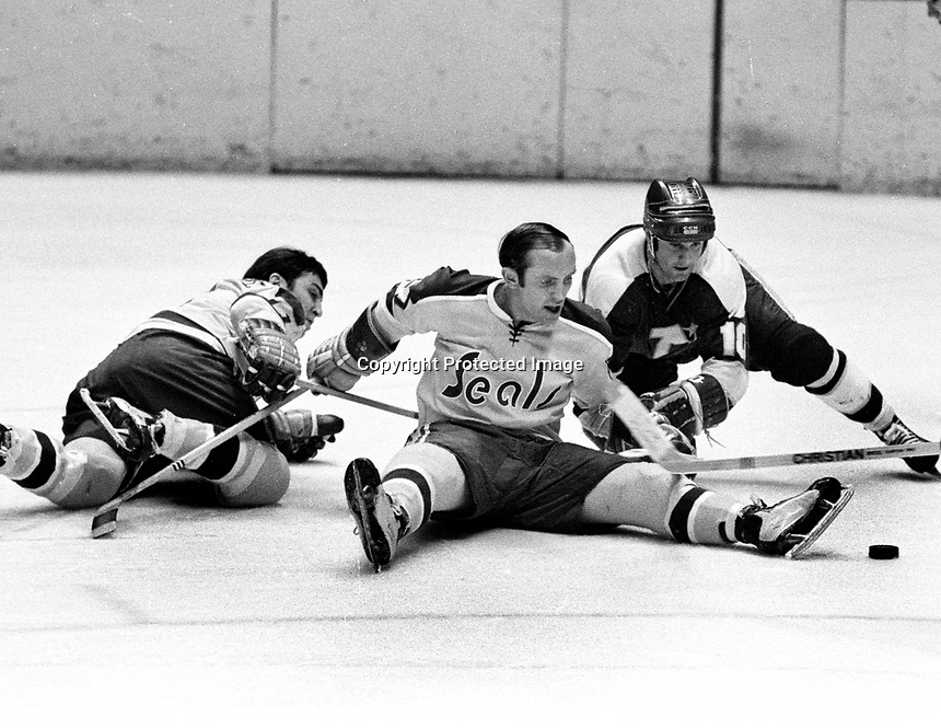Seals vs North Stars: Norm Ferguson and Murray Oliver. (1971 photo/Ron Riesterer)