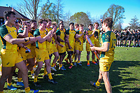 Australia captain Joshua Flook with the Trans-Tasman Schools Rugby Shield after winning the rugby union match between New Zealand Schools and Australia Under-18s at St Paul's Collegiate in Hamilton, New Zealand on Friday, 4 October 2019. Photo: Dave Lintott / lintottphoto.co.nz